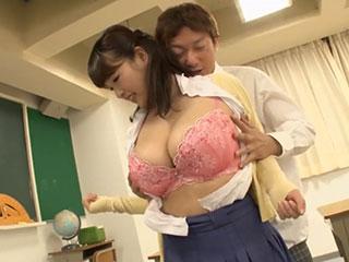 後藤里香(Iカップ)ブラウスが裂けそうな爆乳女教師!乳責めにヨダレを垂らして乳首イキ