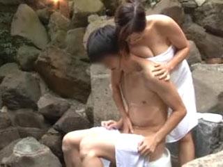 みさとさん(推定Fカップ)タオルで隠しきれない大きな胸の巨乳娘と混浴モニター体験